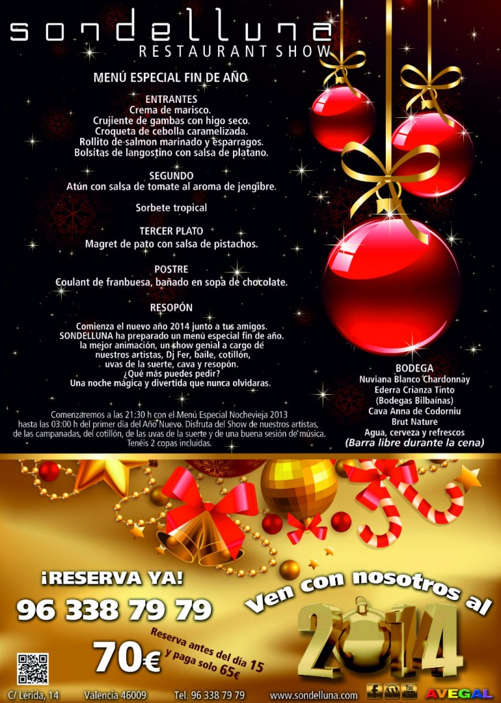 Cena de fin de a o en sondelluna sondelluna restaurant show - Menus para fin de ano ...